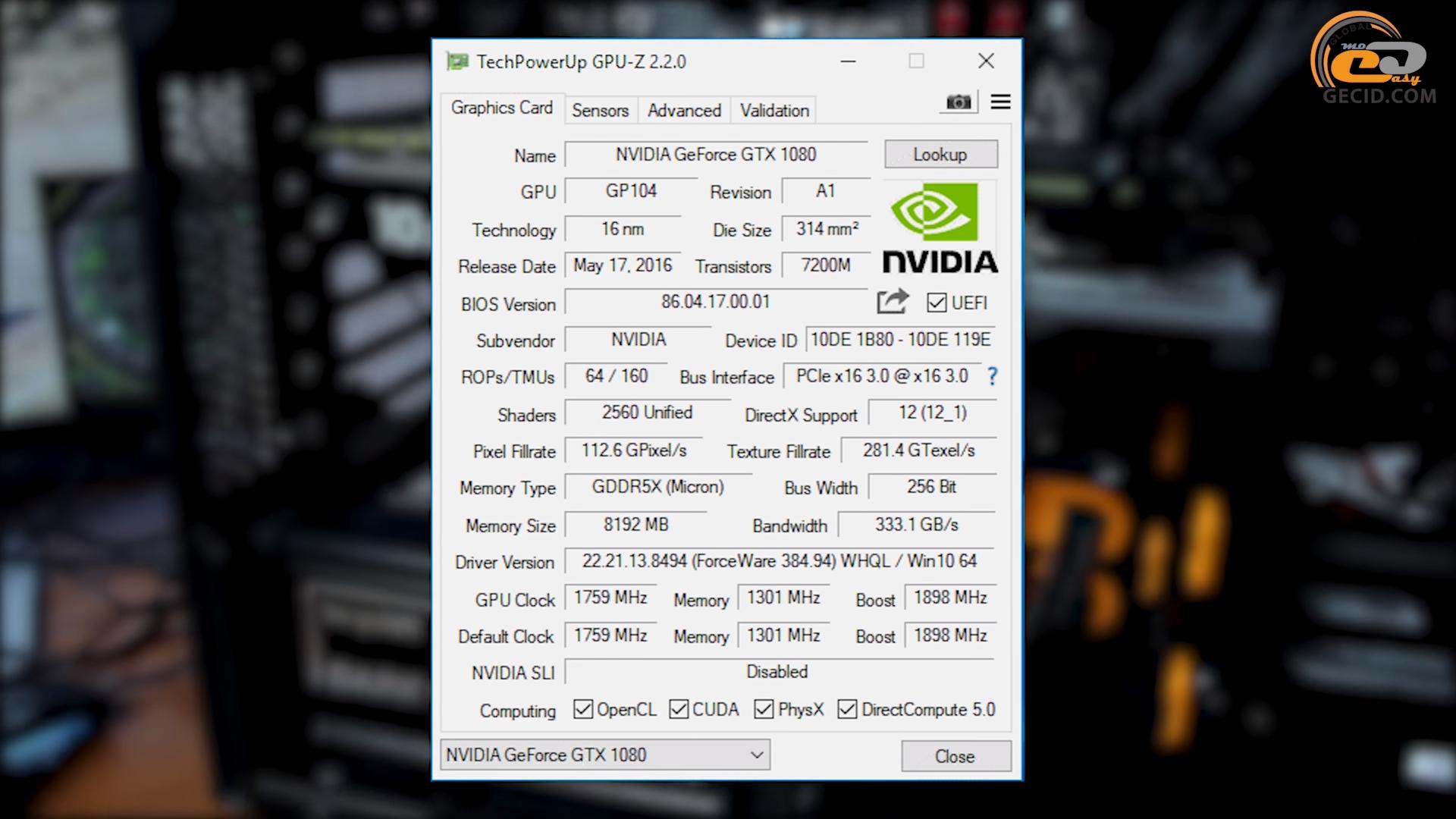 Gtx 1080 Ryzen 5 1600 Benchmark